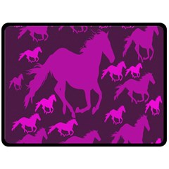 Pink Horses Horse Animals Pattern Colorful Colors Double Sided Fleece Blanket (Large)