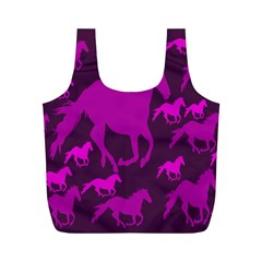 Pink Horses Horse Animals Pattern Colorful Colors Full Print Recycle Bags (M)