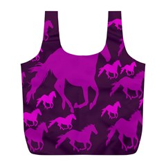Pink Horses Horse Animals Pattern Colorful Colors Full Print Recycle Bags (L)