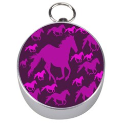 Pink Horses Horse Animals Pattern Colorful Colors Silver Compasses