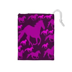 Pink Horses Horse Animals Pattern Colorful Colors Drawstring Pouches (Medium)