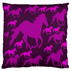 Pink Horses Horse Animals Pattern Colorful Colors Large Flano Cushion Case (One Side)
