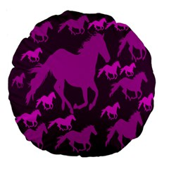 Pink Horses Horse Animals Pattern Colorful Colors Large 18  Premium Flano Round Cushions