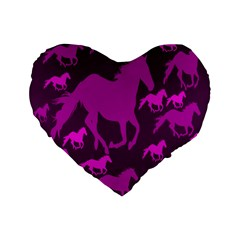 Pink Horses Horse Animals Pattern Colorful Colors Standard 16  Premium Flano Heart Shape Cushions