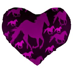 Pink Horses Horse Animals Pattern Colorful Colors Large 19  Premium Flano Heart Shape Cushions