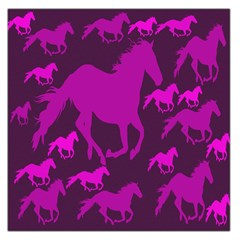 Pink Horses Horse Animals Pattern Colorful Colors Large Satin Scarf (Square)