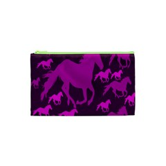 Pink Horses Horse Animals Pattern Colorful Colors Cosmetic Bag (XS)