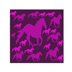 Pink Horses Horse Animals Pattern Colorful Colors Small Satin Scarf (Square)