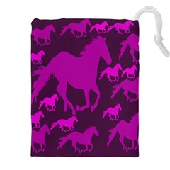 Pink Horses Horse Animals Pattern Colorful Colors Drawstring Pouches (xxl)