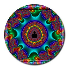 3d Glass Frame With Kaleidoscopic Color Fractal Imag Round Mousepads