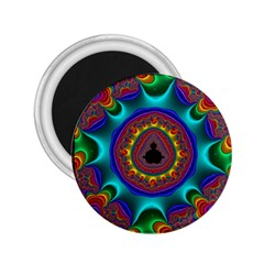 3d Glass Frame With Kaleidoscopic Color Fractal Imag 2.25  Magnets