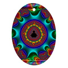 3d Glass Frame With Kaleidoscopic Color Fractal Imag Ornament (oval)