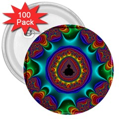 3d Glass Frame With Kaleidoscopic Color Fractal Imag 3  Buttons (100 Pack)