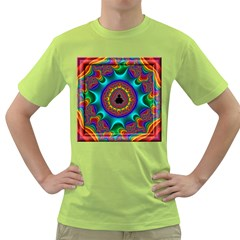 3d Glass Frame With Kaleidoscopic Color Fractal Imag Green T Shirt