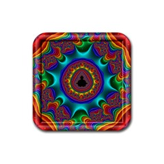 3d Glass Frame With Kaleidoscopic Color Fractal Imag Rubber Square Coaster (4 pack)