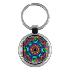 3d Glass Frame With Kaleidoscopic Color Fractal Imag Key Chains (round)