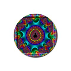 3d Glass Frame With Kaleidoscopic Color Fractal Imag Rubber Round Coaster (4 Pack)