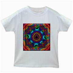 3d Glass Frame With Kaleidoscopic Color Fractal Imag Kids White T Shirts