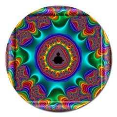 3d Glass Frame With Kaleidoscopic Color Fractal Imag Magnet 5  (Round)