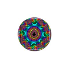 3d Glass Frame With Kaleidoscopic Color Fractal Imag Golf Ball Marker (4 pack)