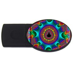 3d Glass Frame With Kaleidoscopic Color Fractal Imag USB Flash Drive Oval (1 GB)
