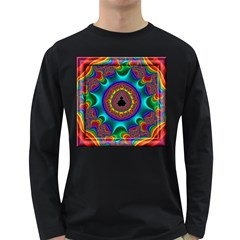 3d Glass Frame With Kaleidoscopic Color Fractal Imag Long Sleeve Dark T-Shirts