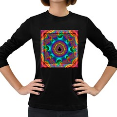 3d Glass Frame With Kaleidoscopic Color Fractal Imag Women s Long Sleeve Dark T-Shirts