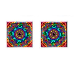 3d Glass Frame With Kaleidoscopic Color Fractal Imag Cufflinks (Square)