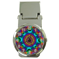3d Glass Frame With Kaleidoscopic Color Fractal Imag Money Clip Watches