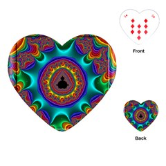 3d Glass Frame With Kaleidoscopic Color Fractal Imag Playing Cards (Heart)