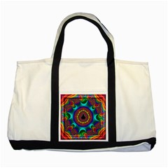 3d Glass Frame With Kaleidoscopic Color Fractal Imag Two Tone Tote Bag