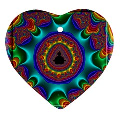3d Glass Frame With Kaleidoscopic Color Fractal Imag Heart Ornament (two Sides)