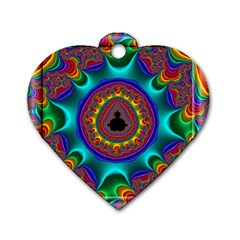3d Glass Frame With Kaleidoscopic Color Fractal Imag Dog Tag Heart (one Side)