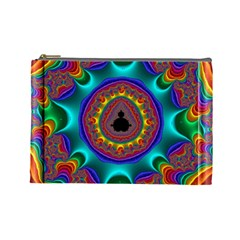 3d Glass Frame With Kaleidoscopic Color Fractal Imag Cosmetic Bag (large)
