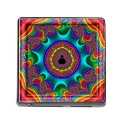 3d Glass Frame With Kaleidoscopic Color Fractal Imag Memory Card Reader (square)
