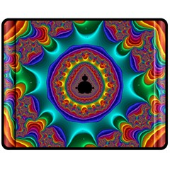 3d Glass Frame With Kaleidoscopic Color Fractal Imag Fleece Blanket (medium)