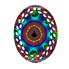 3d Glass Frame With Kaleidoscopic Color Fractal Imag Oval Filigree Ornament (Two Sides)