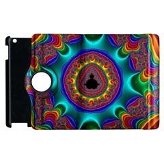 3d Glass Frame With Kaleidoscopic Color Fractal Imag Apple iPad 3/4 Flip 360 Case