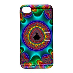 3d Glass Frame With Kaleidoscopic Color Fractal Imag Apple Iphone 4/4s Hardshell Case With Stand