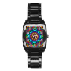 3d Glass Frame With Kaleidoscopic Color Fractal Imag Stainless Steel Barrel Watch