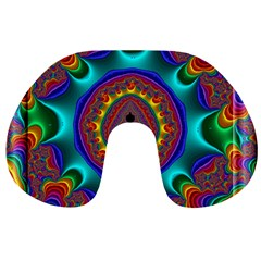 3d Glass Frame With Kaleidoscopic Color Fractal Imag Travel Neck Pillows