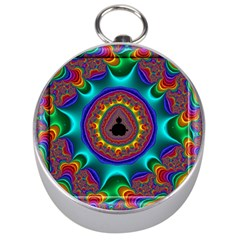 3d Glass Frame With Kaleidoscopic Color Fractal Imag Silver Compasses