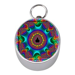 3d Glass Frame With Kaleidoscopic Color Fractal Imag Mini Silver Compasses