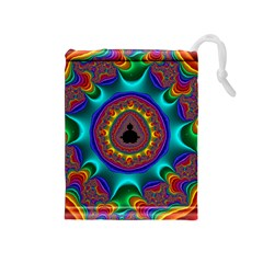 3d Glass Frame With Kaleidoscopic Color Fractal Imag Drawstring Pouches (Medium)