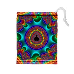 3d Glass Frame With Kaleidoscopic Color Fractal Imag Drawstring Pouches (Large)