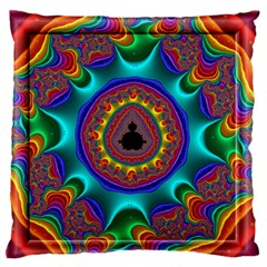 3d Glass Frame With Kaleidoscopic Color Fractal Imag Large Flano Cushion Case (two Sides)