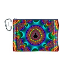 3d Glass Frame With Kaleidoscopic Color Fractal Imag Canvas Cosmetic Bag (m)