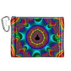 3d Glass Frame With Kaleidoscopic Color Fractal Imag Canvas Cosmetic Bag (XL)