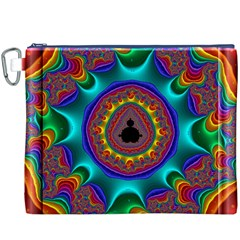 3d Glass Frame With Kaleidoscopic Color Fractal Imag Canvas Cosmetic Bag (XXXL)
