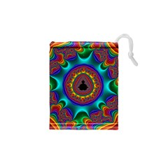 3d Glass Frame With Kaleidoscopic Color Fractal Imag Drawstring Pouches (XS)
